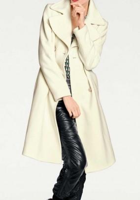 Wool fleece coat with cashmere, ecru
