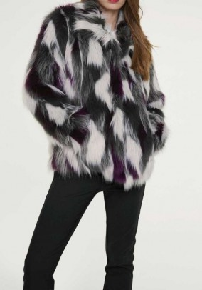 Weave fur jacket, multicolour