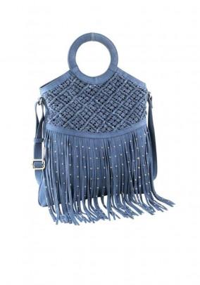 Velours leather bag with fringes, denim blue