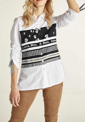 Shirt blouse, white-black
