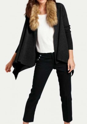 Cardigan with fur imitation collar, black