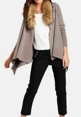 Cardigan with fur imitation collar, taupe