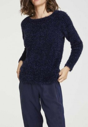 Mėlynas pūkuotas megztinis