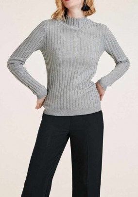 Rib knit sweater, gray melange