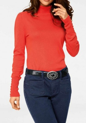 Turtleneck sweater with cashmere, coral