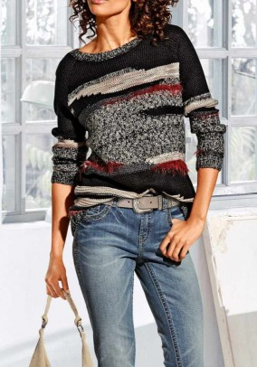 Sweater, black-rust-cream