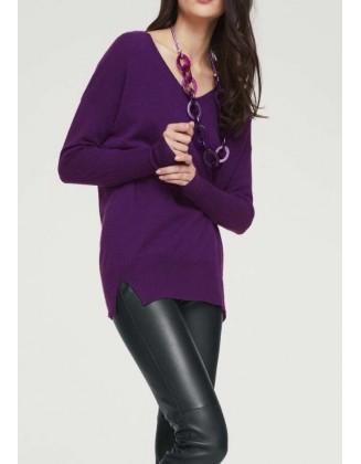 Ilgas violetinis kašmyro megztinis
