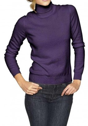 Cashmere turtleneck sweater, purple