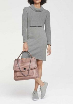 2-in-1 knitted dress, gray