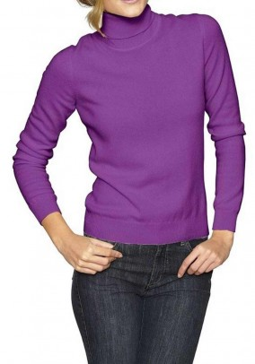 Cashmere turtleneck, cyclam