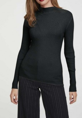Rib knit sweater, black
