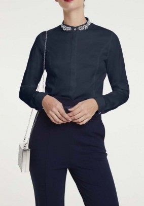 Blouse with strass, navy