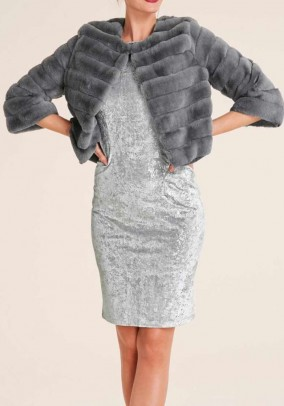 Weave fur jacket, silver grey