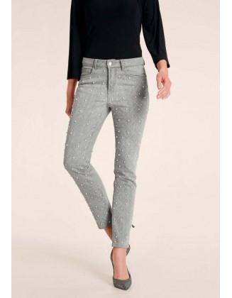 Perlais dekoruoti pilki džinsai
