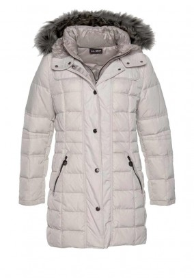 Down parka with weave fur, stone