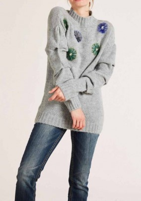 Sweater with beads, grey