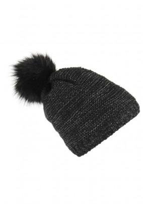 Knit hat with weave fur pompon, black-silver