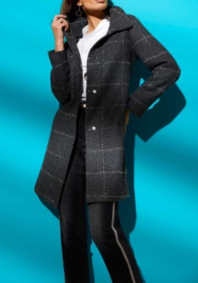 Padded wool coat, grey