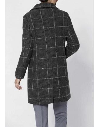 Pilkas languotas paltas su vilna (ūgiui iki 1.65m)