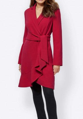 Coat with flounce, red