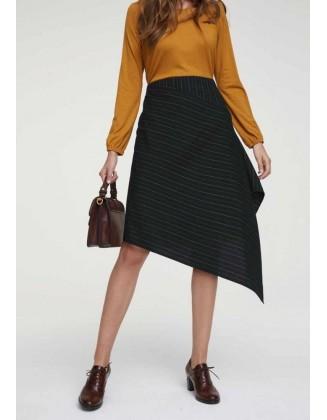 Juodas dryžuotas asimetrinis sijonas
