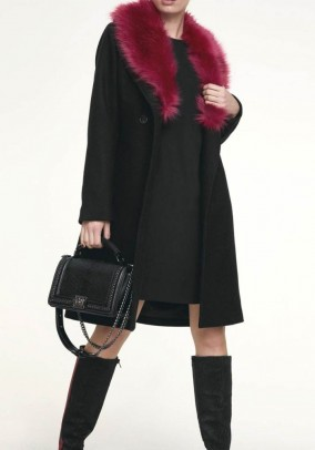 Coat with weave fur, black-red