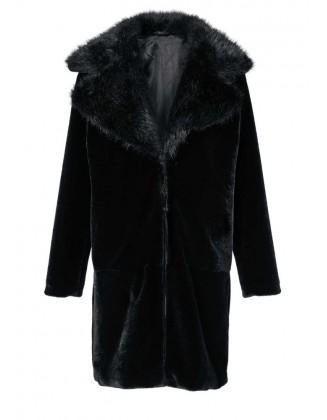"""Juodas kailinis paltas """"Wave"""""""