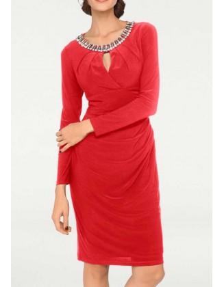 """Raudona kokteilinė suknelė """"Strass"""""""