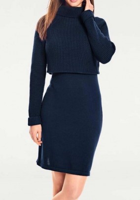 Two-in-one knit dress, blue