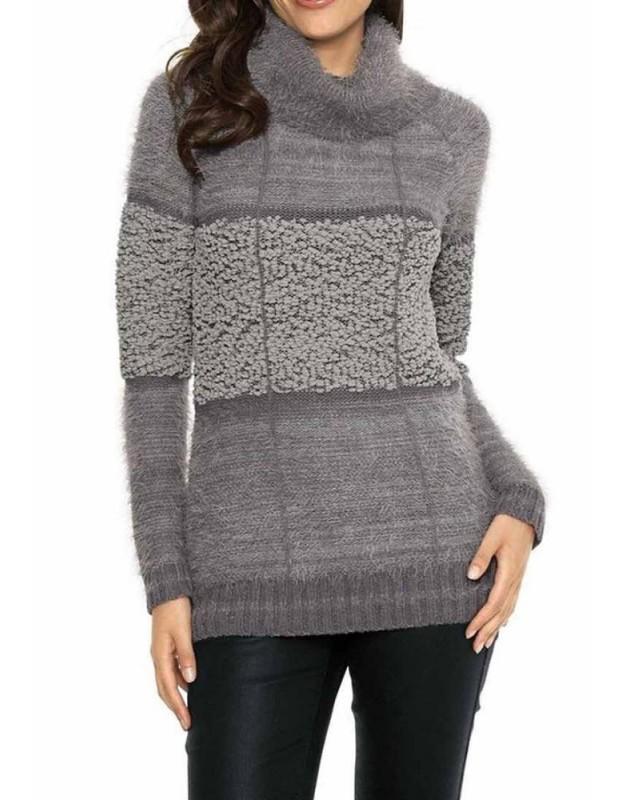 Pilkas didesnio dydžio megztinis