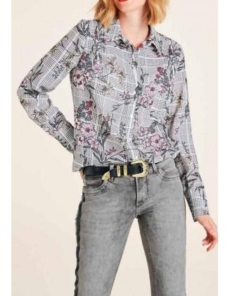 Marškiniai su gėlių motyvais