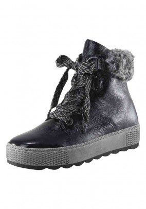 Patent leather boots with weave fur, navy
