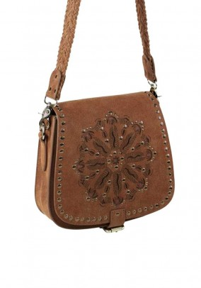 Leather bag with rivets, cognac