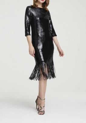Sequin dress with fringes, black