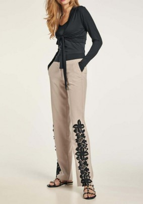 Stretch trousers with lace, light taupe - black
