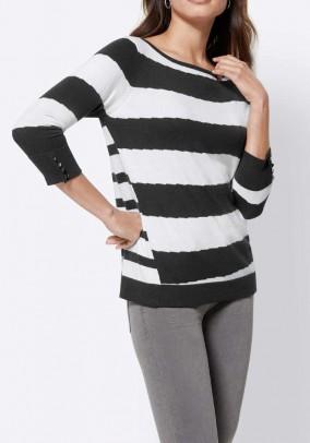 Fine knit sweater with silk, black-white