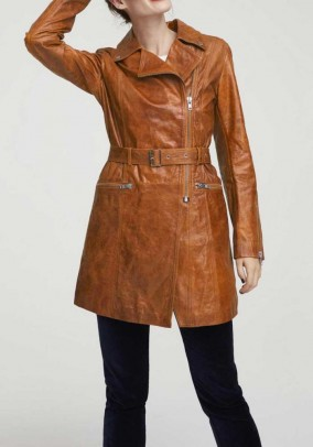 Lamb nappa leather coat, cognac