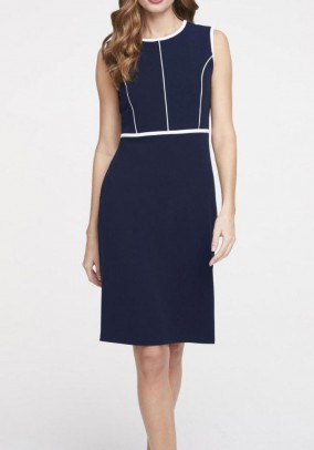 Sheath dress, navy-white