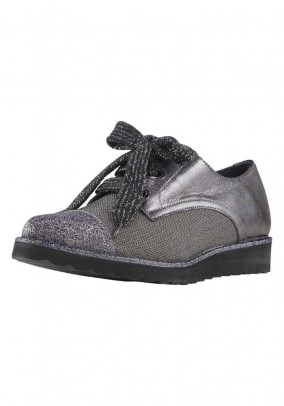 Lace up shoe, silver colour - grey