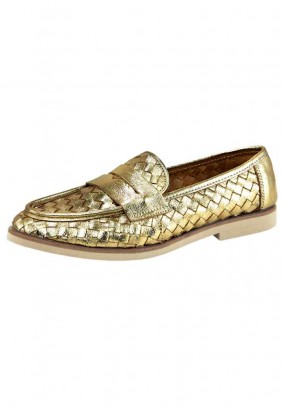 Leather slipper, gold coloured