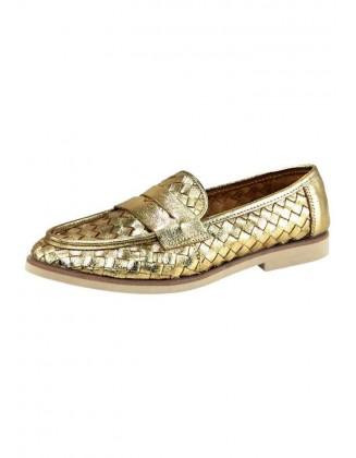 Aukso spalvos odiniai bateliai