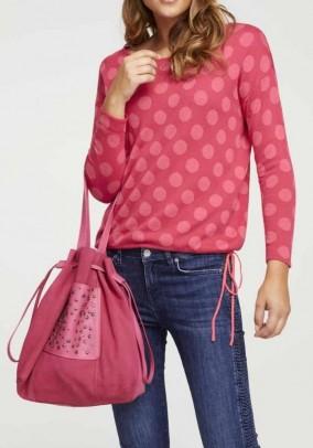 Rožinis taškuotas megztinis
