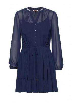 Branded chiffon dress, marine