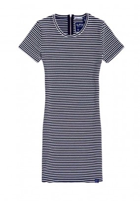 Striped dress, navy-white