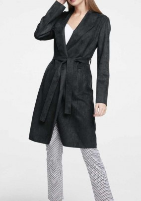 Leather imitation coat, black