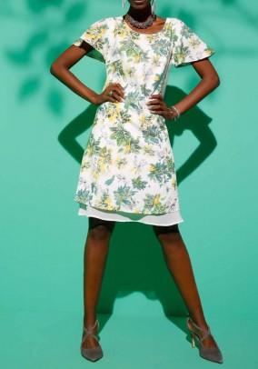 Linen dress, white-multicolour