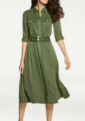 Shirt blouse dress, olive