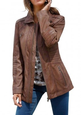Lamb nappa leather jacket, brown