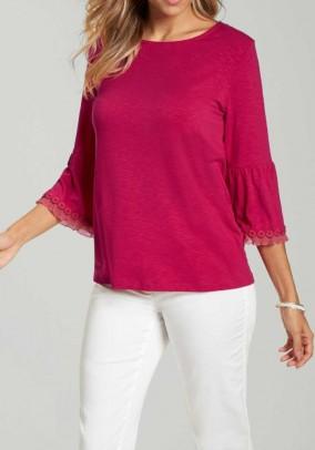 Jersey shirt with flounces, pink