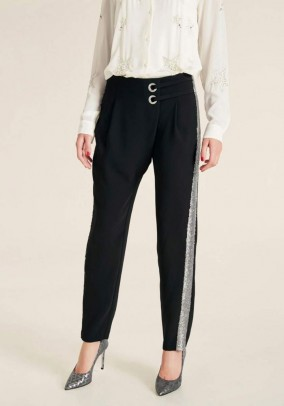 Trousers with wrap-effect, black-silver